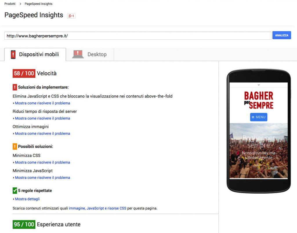 Page Speed Insight Mobile