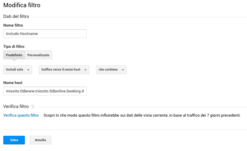 Impostare un filtro per eliminare il Ghost traffic da Analytics
